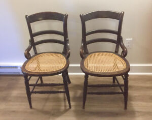 Pair of cane seat antique chairs