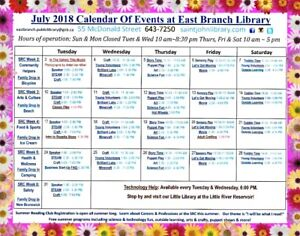 July Calendar of Events - East Branch Public Library