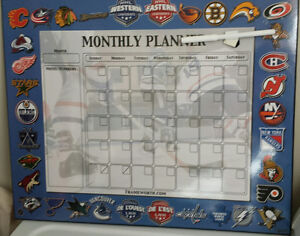 NHL Team Logo Monthly Planner Dry Erase Board - NEW!