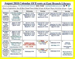 August at The East Branch Public Library