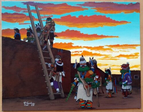 Beautiful Ronnie Cachini Native Zuni Oil on Canvas Painting 2003