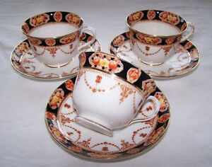 Royal Albert Pattern 6145 Cups and Saucers, Set of Three