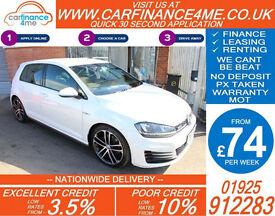 2014 VW GOLF 2.0 TDI GTD GOOD / BAD CREDIT CAR FINANCE FROM 74 P/WK