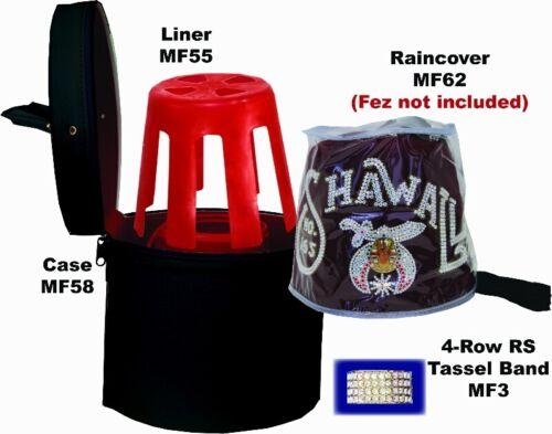 NEW COMPLETE Masonic Fez Package - Case, tassel pin, liner, rain cover