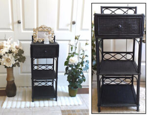 Just Refinished Black 1-Drawer Wicker Night Stand / End Table