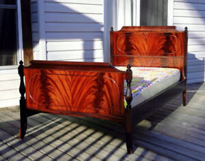 Flamed Mahogany Twin Bed Frame