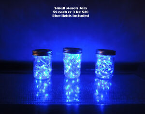 Mason jars with blue or white lights