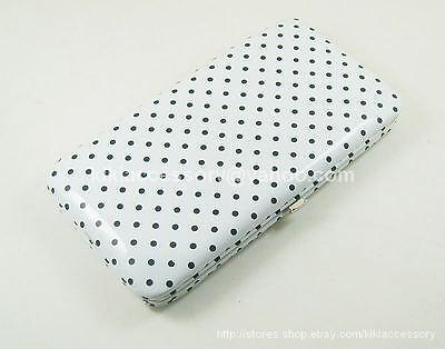 White Mini Polka Dot Flat Opera Wallet Clutch Purse Handbag Coin Credit Card Bag