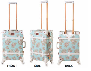 **BRAND NEW** Blue Floral Luggage with Rose Gold Accents