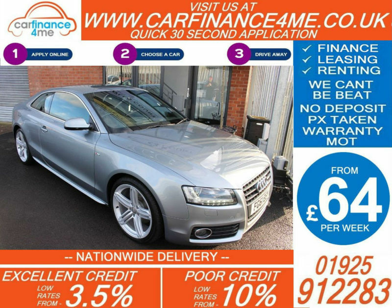 2011 AUDI A5 2.0 TDI QUATTRO S-LINE GOOD / BAD CREDIT CAR FINANCE FROM 64 P/WK
