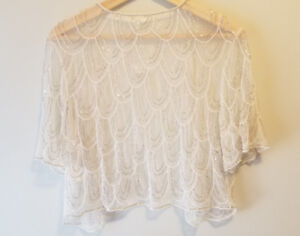Gorgeous ivory beaded bolero jacket - brand-new!
