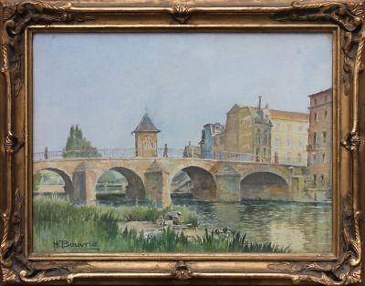 Henri Bouvrie  (1896-1973) - Brücke an der Marne, Wäscherin - Aquarell