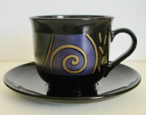 Set of 8 Cup Saucer Arcoroc France Black Glass Abstract Design
