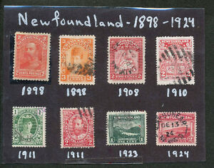 Collection of 8 different Newfoundland Stamps 1898-1924