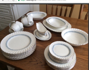EIGHT PLACE SETTINGS plus serving dishes AYNSLEY, made in Eng