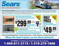SEARS DUCT CLEANING: SAVE UP TO $150.00 WITH SUMMER SPECIALS!