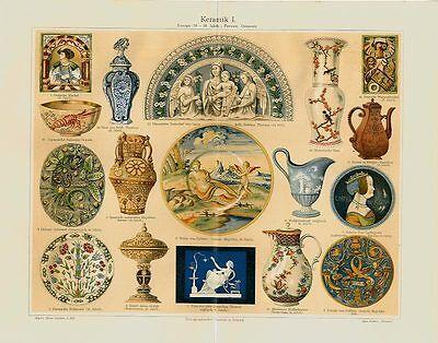 Keramik Töpferei Ton Krug Kunst Europa Originale Pxz über 100 Jahre alt+Text M6