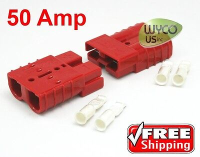 """ANDERSON QUICK CONNECTORS W/CONTACTS, #10/12AWG (1/8"""" ID), 50AMP, SMALL RED"""