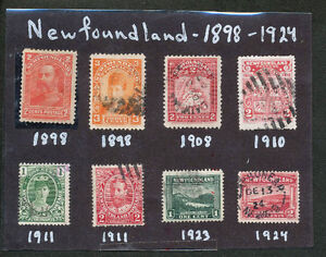 1898-1924 Collection of 8 different Newfoundland Stamps