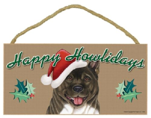 Akita Happy Howlidays Santa Hat Wood Funny Christmas Dog Sign Plaque USA Made