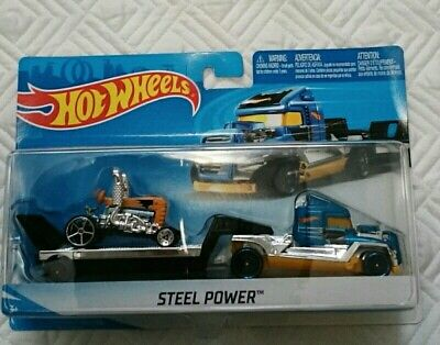 HOT WHEELS STEEL POWER HEAVY EQUIPMENT CARRIER DIECAST 2018