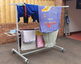 Mobile galvanised clothes lines on wheels