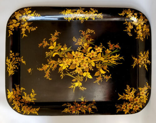 Antique Toleware Enamel Hand Decorated Large TEA TRAY Gilt Birds Flowers Foliage