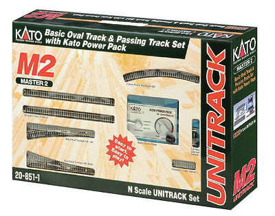 Kato 20-851-1, N Scale UniTrack M2 Basic Oval & Siding w/ Kato Power Pack 208511