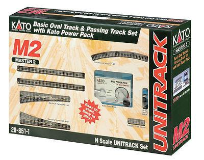 Kato 20-851-1, N Scale UniTrack M2 Basic Oval & Siding w/ Kato Power Pack 208521