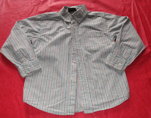 Boys teal striped dress shirt in size 6 *worn once