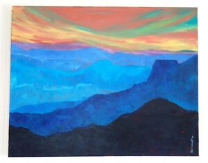 CAROL SCHMIDT ORIGINAL PAINTING SUNRISE SUNSET ACRYLIC ON CANVAS