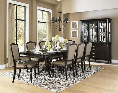 HUNTER - 9pcs Grand Traditional Wenge Rectangular Dining Room Table Chairs Set