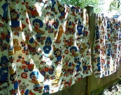 Pair of curtains vintage retro 60s 70s childrens bedroom nursery kids pattern