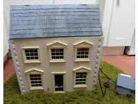 Large solid dolls house with 3 stories & lighting equipment