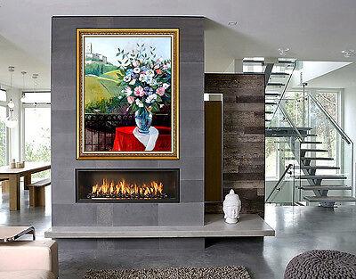 Charles LEVIER Large Original OIL On Canvas Painting Signed Floral Landscape Art
