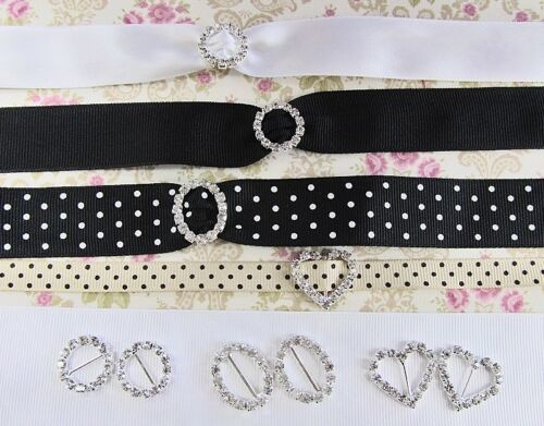 12 Rhinestone Buckle Crystal Slider Silver/Wedding Invitation/Craft Supply E29