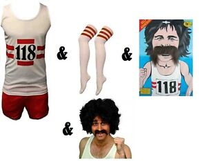 118 118 Fancy Dress Costume Accessories Socks Moustache Vest & Shorts Wristbands