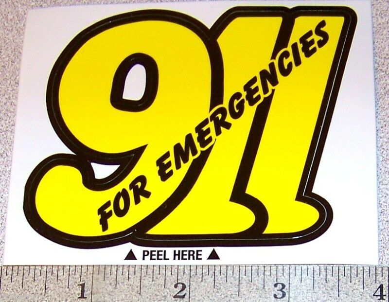 911 Emergency Stickers -Get 3 Decals 9 1 1 Emergencies Police Fire EMS Paramedic