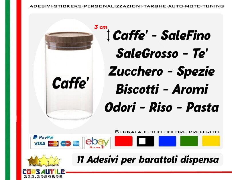 SET 11 ADESIVI X BARATTOLI SALE ZUCCHERO CAFFE' TE' BISCOTTI DISPENSA CUCINA
