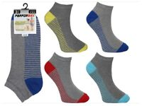 New 480 Pairs Mens Grey Trainer Socks Stripped Coloured Heel & Toe Wholesale Clearance Stock Job Lot