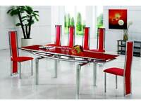 Glass Extending Dining table With 8 Leather Chairs