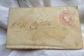 antique queen victoria embossed pink stamp oval used envelope