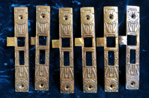Six Matching Vintage Victorian Brass Door Lock Strike Plates READY TO INSTALL