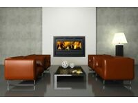 DOUBLE SIDE CASSETTE INSET STOVE multifuel modern stove multi fuel insert coal wood turf