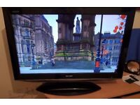 """Sharp Aquos 32"""" Lcd Full Hd Slimline Tv Built In Freeview Remote & Stand Excellent Condition"""