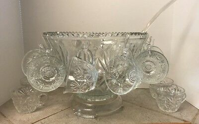Lg Saw Tooth edge Punch Bowl 12 Cups 12 Cup Hooks Glass Base And A Plastic Ladle - Plastic Punch Cups