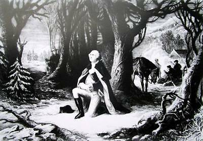 George Washington Prayer at Valley Forge Old Black and White art print