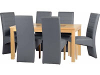 """Wexford 59"""" Dining Table With 6 Grey Leather Chairs (G5)"""