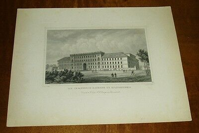 Die Infanterie-Kaserne zu Braunschweig, Stahlstich einer alten Ansicht