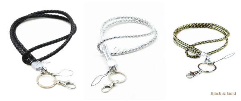 NEW Durable Braided Leather Neck Lanyard with Key chain for Key ID badge Holder